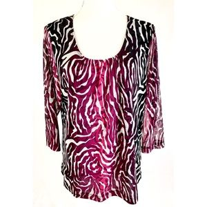 CHICOS Pink Black White 3/4 Sleeve Blouse